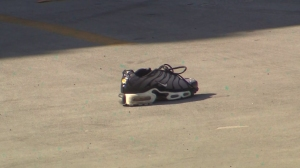 A single Nike sneaker was discovered near the scene of the crime. (Credit: KTLA)