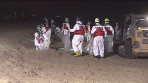 Crews worked overnight on May 29, 2015, to cleanup tar found along a 9-mile stretch of South Bay beaches. (Credit: KTLA)