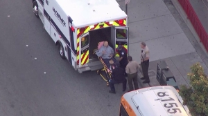 A man was stabbed on a Metro bus bordering Hawthorne and Gardena on May 13, 2015. (Credit: KTLA)