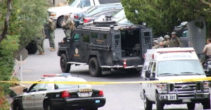 A SWAT team responded to the standoff in Topanga on May 21, 2015. (Credit: Keith Holland)