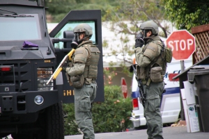 Deputies were believed to have fired teargas in response to the standoff in Topanga on May 21, 2015. (Credit: Keith Holland)