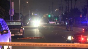An investigation was underway after a 13-year-old boy was struck by a car and killed in South L.A. on May 6, 2015. (Credit: KTLA)
