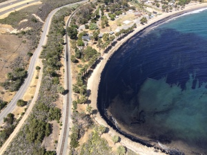 Authorities were responding to an apparent oil slick in the ocean off Refugio State Beach in Santa Barbara County on May 19, 2015. (Credit: KTLA)