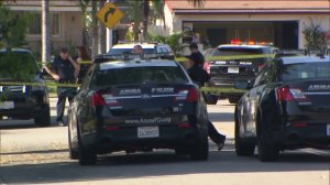 Authorities were investigating an officer-involved shooting that resulted in the death of a man on June 21, 2015. (Credit: KTLA)