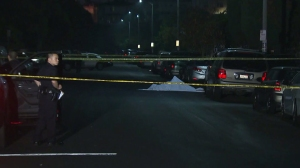 Police were investigating the fatal shooting of a bicyclist in the Mid-City area on June 17, 2015. (Credit: KTLA)