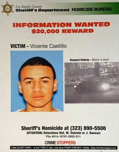 Vicente Castillo is seen in a Los Angeles County Sheriff's Department flier.