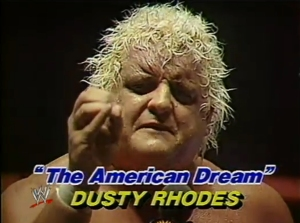 Dusty Rhodes is shown in a still from a May 23, 1983, match against Samoan #3 at Madison Square Garden. (Credit: WWE)