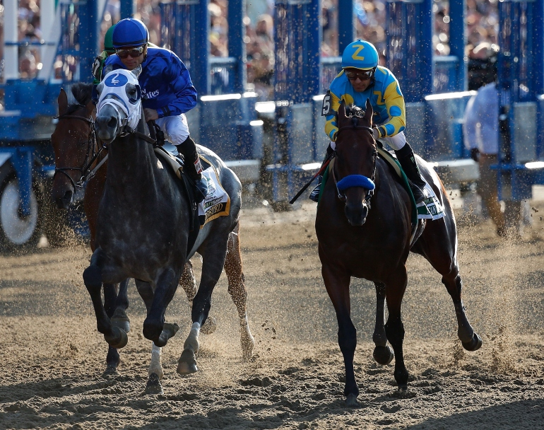 American Pharoah #5, ridden by Victor Espinoza, during the 147th running of the Belmont Stakes at Belmont Park on June 6, 2015, in Elmont, New York. (Credit: Rob Carr/Getty Images)