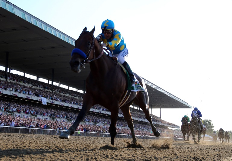 American Pharoah #5, ridden by Victor Espinoza, comes down the final stretch ahead of the field on his way to winning the 147th running of the Belmont Stakes at Belmont Park on June 6, 2015, in Elmont, New York.  (Credit: Rob Carr/Getty Images)