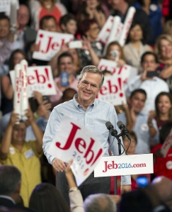 Former Republican governor of Florida Jeb Bush celebrates after announcing his candidacy for the 2016 Presidential elections, at Miami Dade College on June 15, 2015, in Miami. (Credit: Andrew PATRON/AFP/Getty Images)