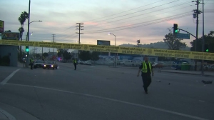 A bicyclist was killed in a hit-and-run in Highland Park on June 26, 2015. (Credit: KTLA)