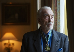 British actor Christopher Lee poses for a photograph wearing his Insignia of Commandeur de L'Ordre des Arts et Lettres during a ceremony honouring his contribution to the fields of art and literature at the residence of the French ambassador to Britain Bernard Emie in London on December 16, 2011. (Credit: Adrian Dennis / AFP /Getty Images)