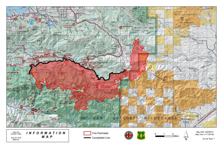 A map from the San Bernardino National Forest shows the Lake Fire perimeter on June 25, 2015.