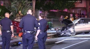 Los Angeles police were investigating a crash that left a 19-year-old woman dead on June 21, 2015. (Credit: Loudlabs)