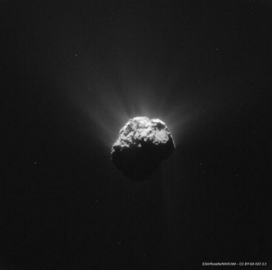 """The Rosetta Mission tweeted this photo on June 15, 2015, with the caption """"@Philae2014 I was taking a photo of #67P around the time you said hello, here's the view from 200km away! *waves*"""" (Credit: European Space Agency)"""