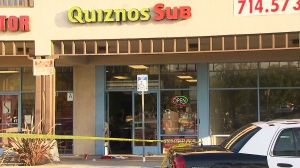 A man was fatally shot outside a Quiznos restaurant on Tuesday, June 2, 2015. (Credit: KTLA)