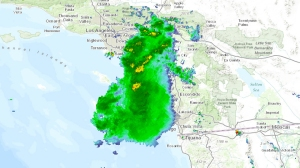 A National Weather Service radar map shows a storm moving across SoCal about 4 p.m. June 30, 2015.