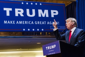 Business mogul Donald Trump points as he gives a speech as he announces his candidacy for the U.S. presidency at Trump Tower on June 16, 2015, in New York City.  (Credit: Christopher Gregory/Getty Images)