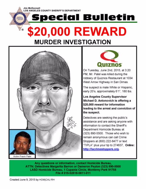 A flier released by the L.A. County Sheriff's Department on June 10, 2015, shows the man who killed Pravin Patel.