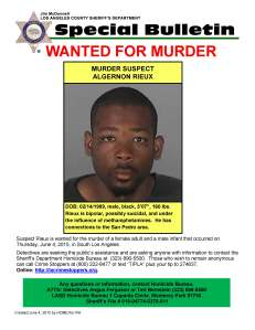 A wanted flier for AlgerNon Rieux was issued by LASD on June 4, 2015.