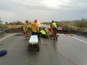 First responder arrive at the scene of a bridge and freeway collapse in the Desert Center area on July 19, 2015. (Credit: Cal Fire Riverside Chief Geoff Pemberton)