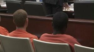 Daniel Allen Estramera and Dawone Anthony Finnell appear in court on July 2, 2015. (Credit: KTLA)