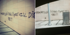 Two Instagram photos captured anti-vaccine graffiti in Beverly Hills on July 1, 2015. (Credit: left, r.solorio; right, luisjay23)