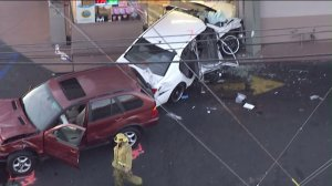 A multi-vehicle collision sent one car into a doughnut shop in Gardena. (Credit/; KTLA)