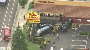 A vehicle struck an El Pollo Loco location in Sunland on July 9, 2015. (Credit: KTLA)