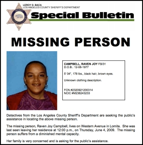 An LASD flier issued in 2009 asked for help finding Raven Campbell.