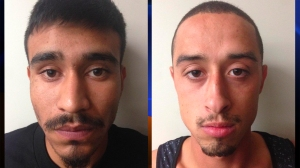 Booking photos released by the Fontana Police Department show Frankie Hernandez (left) and River Robison.