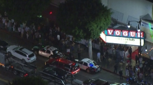 Fire officials are seen arriving at Hollywood's Supper Club on July 23, 2015, after the rapper Future tweeted he would be at the venue, prompting large crowds to gather. (Credit: KTLA)