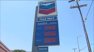 A Chevron gas station near Union Station in downtown L.A. was charging more than $5 a gallon for gasoline on July 13, 2015. (Credit: KTLA)