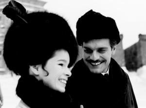 "Geraldine Chaplin and Omar Sharif during the filming of the ""Doctor Zhivago,"" directed by David Lean, in Canillejas, 1965, Madrid, Spain. (Credit: Gianni Ferrari/Cover/Getty Images)"