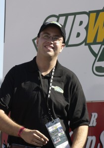Actor Jared Fogle is pictured watching pre-race introductions Sunday, October 19, 2003, at the NASCAR Subway 500 at Martinsville Speedway, Martinsville, Virginia. (Credit: Al Messerschmidt/WireImage)