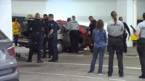 Glendale police were investigating a fatal crash in a parking structure next to a Ralphs on Glendale Avenue on July 9, 2015.  (Credit: KTLA)