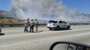 A KTLA viewer was on the freeway when the North Fire first broke out on July 17, 2015. (Credit: Eric Hooper)