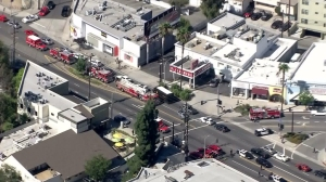 Dozens of police and fire vehicles responded to a report of shots fired in Studio City on July 24, 2015. (Credit: KTLA)