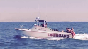 Dangerous rip currents on Tuesday prompted a mass rescue operation in Venice where at least 28 swimmers were pulled from the water. (Credit: LACFD Lifeguards)