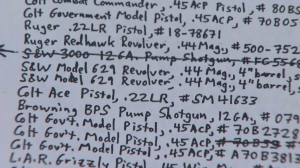 A closeup shows a list attorney Robert Rentzer said was written by Jeffrey Lash in 1991, itemizing guns that were stolen from him. (Credit: KTLA)