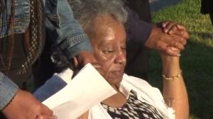 Joreena Johnson prays at a vigil for her daughter on July 6, 2015. (Credit: KTLA)