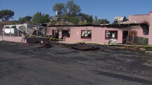 The No Name Cafe in San Bernardino is shown July 28, 2015, hours after it was left gutted by a fire. (Credit: KTLA)