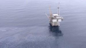 Platform Holly, operated by Venoco, Inc., off Goleta, is shown on July 29, 2015. (Credit: KTLA)