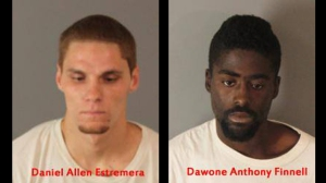 Daniel Estramera and Dawone Finnell are shown in booking photos released by Riverside police on July 1, 2015.