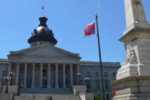 The Confederate battle flag flies on the grounds of the South Carolina State House in Columbia on July 5, 2015. (Credit: William Walker/CNN)