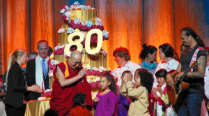 The 14th Dalai Lama at the Global Compassion Summit in Anaheim for the Nobel Peace Prize winner's 80th birthday celebration. The Dalai Lama's actual birthday is Monday, July 9, 2015. Organizers chose the early celebration to coincide with his birthday in Tibet. (Credit: Francine Orr / Los Angeles Times)