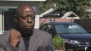 Jamiel Shaw Sr. expresses support for Donald Trump at a news conference in Arlington Heights on July 10, 2015. (Credit: KTLA)