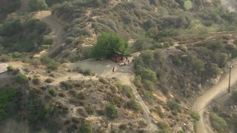 The Griffith Park Teahouse is seen from Sky5 on the morning of July 2, 2015. (Credit: KTLA)