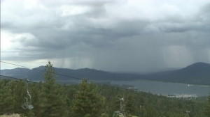 KTLA's camera atop Snow Summit near Big Bear Lake shows a storm moving across the area on July 29, 2015. (Credit: KTLA)