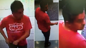 A man suspected of taking upskirt pics of a woman in Torrance is seen in these surveillance images provided by the Torrance Police Department on July 29, 2015.